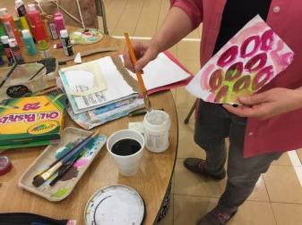 Lisa busy creating.